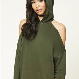 Forever 21 Cold shoulder hooded sweatshirt
